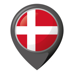 Icon representing location pin with flag of Denmark. Ideal for catalogs of institutional materials and geography