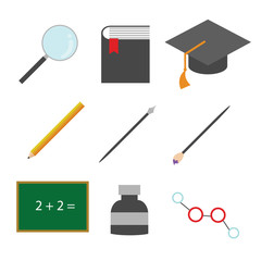 Simple Education Related Icons Vector Illustration