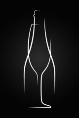 Champagne glass logo. Champagne bottle on black background