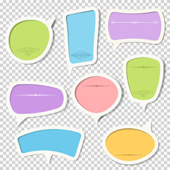 Vector set of paper speech bubbles with calligraphic elements