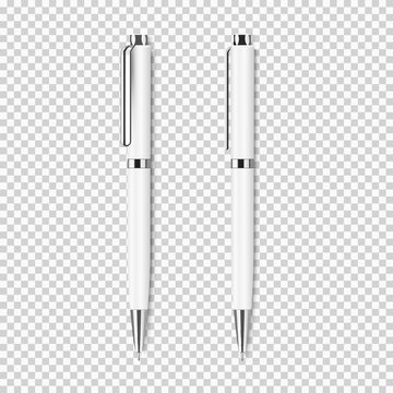 Two white realistic pen on transparent background