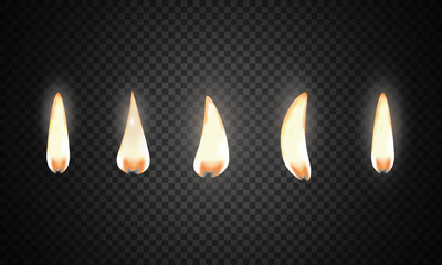 Set of fire flame. Realistic candle flame isolated on black background.