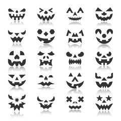 Halloween pumpkin face with reflection icon set