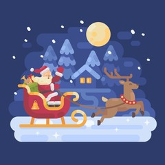 Happy Santa Claus riding in a sleigh drawn by reindeer across a snowy night winter village landscape. Christmas flat illustration