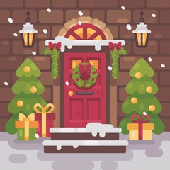 Brown decorated Christmas porch with fir trees and presents. Holiday home decor flat illustration