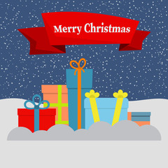 Gift boxes on snow and falling snow and a red ribbon with the inscription Happy Christmas. Vector illustration.