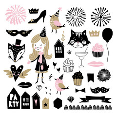 Set of hand drawn New Year or birthday party graphic elements. Girl with hat, cute birds, fireworks, drinks, cupcakes and decorations. Scandinavian kids design. Isolated vectors. Photo booth props.