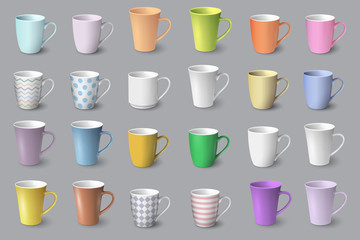 Big set of realistic white and colored cups