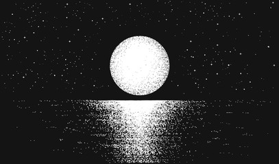 View to full moon at the night time on sea.Lunar reflection on the water.Vector background