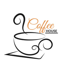 Coffee cup  design logo black  bg vector eps 10