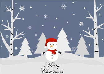 Merry Christmas and Happy New Year. Snowman. Vector illustration