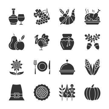 Thanksgiving day black silhouette icon set