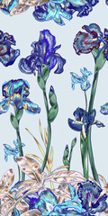 Purple Vintage Iris Repeat Pattern