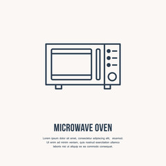Microwave oven vector flat line icon. Cooking equipment linear sign. Outline symbol for household kitchen appliances shop.