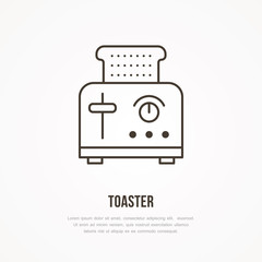 Toaster vector flat line icon. Cooking equipment linear sign. Outline symbol for household kitchen appliances shop.