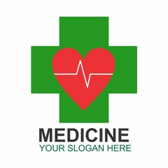 Pharmacy Cross Green Heart Love Health Stock Vector Logo Design Template