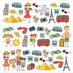 Doodle vector set Travel , vacation, adventure. Children with parents Preparing for your journey. Kindergarten, school summer vacation Kids drawing