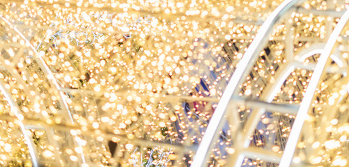 Christmas abstract gold background with bokeh light, Slightly abstract bokeh