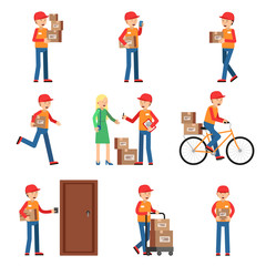Delivery worker in different action poses. Man holding box or package. Vector characters