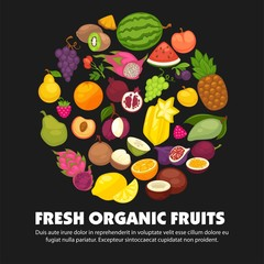 Organic fruits and berries harvest poster of fresh apple and mango or pineapple, natural pear, grape and tropical banana.