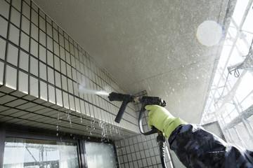 Fototapeta マンション外壁の洗浄作業 obraz