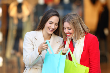 Two shoppers showing products in shopping bags