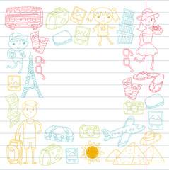 Doodle vector set Travel , vacation, adventure. Children with parents Preparing for your journeys. Kindergarten, school summer vacation Kids drawing
