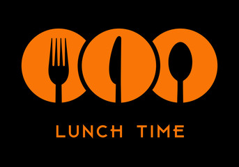 Lunch time with cutlery icon over black background