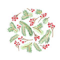 Watercolor card with Christmas evergreens. Circle composition of spruce and holly berries