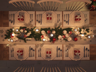 top view of a christmas decorated table by night. 3d rendering