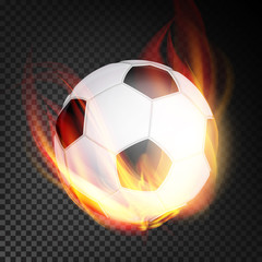 Football Ball Vector Realistic. Football Soccer Ball In Burning Style Isolated On Transparent Background
