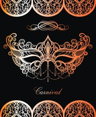 Carnival mask. Beautiful concept design in gold