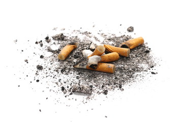 Cigarette stubs and ash isolated on white background