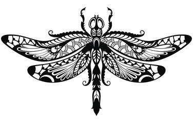 Elegant Vector illustration of Dragonfly.  Poster, t-shirt design.