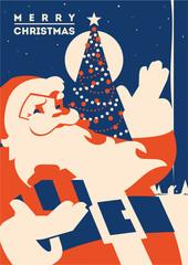 Santa claus with Christmas tree minimalistic vector illustration