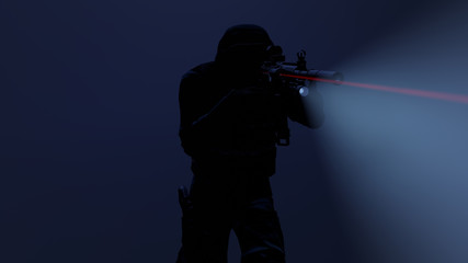 3d illustration of a swat officer in action with the flashlight and laser sight on