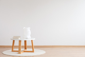 Wooden table in child's room