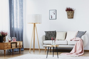 Simple living room with lamp