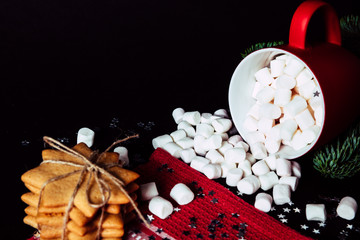 Cozy atmosphere, ginger sorrow, gingerbread man, cinnamon and cocoa with marshmallows