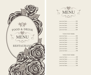 Vector menu for restaurant or cafe with roses and price list in retro style with oval frame