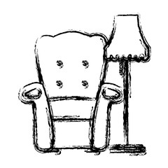 Armchair and floor lamp icon vector illustration graphic design