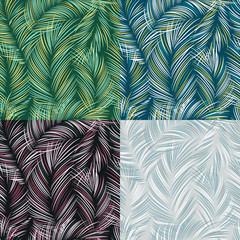 Set of tropical leaves seamless textured pattern
