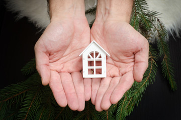 Small white house in man hands. Spruce branch on background.