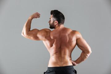 Back view portrait of a muscular shirtless male bodybuilder