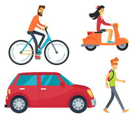 People with Transport Icons Vector Illustration