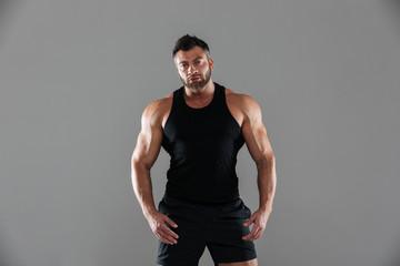Portrait of a confident serious male bodybuilder