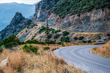asphalt road on the island of Evia in Greece
