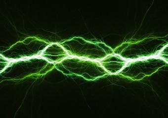 Green energy, plasma and lightning bolt background