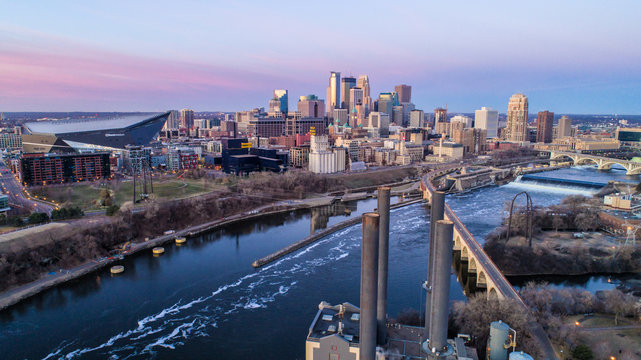 Minneapolis Skyline at Sunrise - Cityscape - Aerial