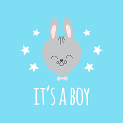 Cute baby pattern with little bunny. Cartoon animal boy print vector with funny rabbit and stars. Adorable background for kids clothing, t-shirt, bodysuits, children birthday party invitation.